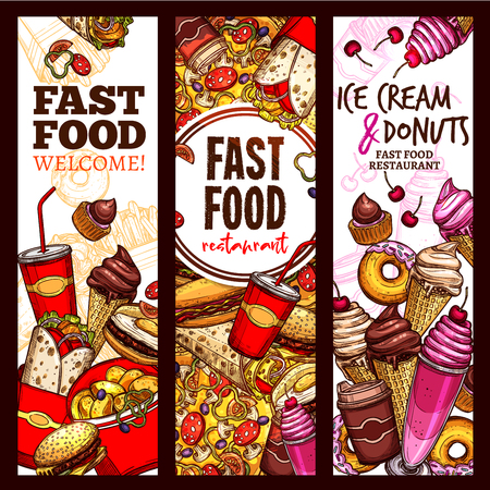 Fast food restaurant banner, menu flyer set. Fast food lunch sketch of hamburger, hot dog, pizza, french fries, coffee and soda drink, donut, cheeseburger, ice cream cone, burrito sandwich, milkshake Ilustração