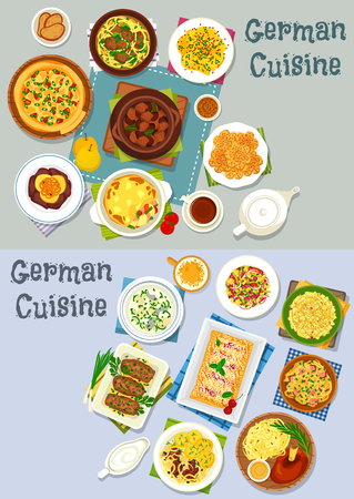 German cuisine lunch icon set. Vegetable meat stew with beer, vegetable sausage casserole, bacon cheese pie, fish and noodle soup, meat roll, cheese fruit and sauerkraut salad, cherry strudel, cookie Illustration