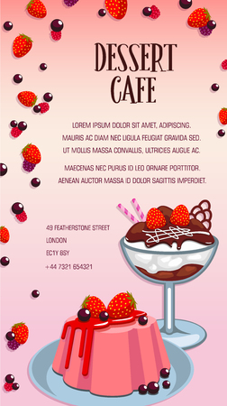 Dessert cafe, bakery and pastry shop cartoon poster. Cake, ice cream sundae and fruit pudding, served with chocolate, fresh strawberry fruit and berry for dessert menu template design Illustration
