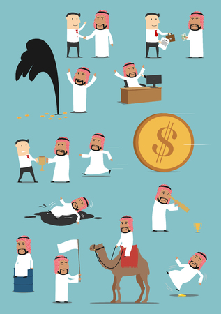 Arabian businessman activities cartoon set. Saudi arab man working on computer, running away from money, shaking hand, riding on camel, standing with white flag, fighting for trophy, discovering oil
