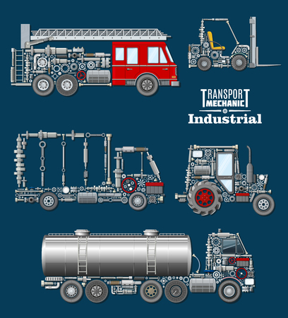 Industrial transport mechanics poster. Autotruck, fire truck, loader, tractor and tank track silhouette created from mechanical details, spare parts, engine components and wheel. Transportation design Stock Vector - 79001489