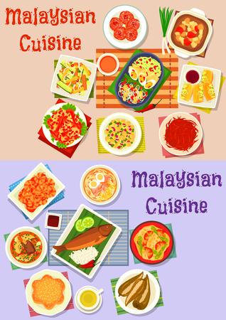 Cuisine malaisienne jeu d'icônes de poisson au curry, salade de légumes et de fruits, soupe de viande avec nouilles et légumes, crevettes au piment et oeuf, tofu farci et poivre, poisson grillé avec riz, beignet et gâteau Banque d'images - 79001491