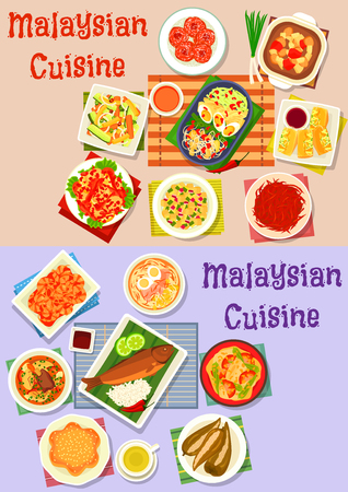 Malaysian cuisine dinner icon set of fish curry, vegetable and fruit salad, meat soup with noodle and veggies, chilli shrimp and egg, stuffed tofu and pepper, grilled fish with rice, donut and cake Illustration
