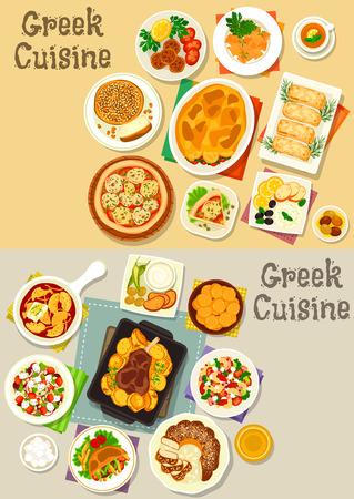 Greek cuisine icon set with vegetable meat casserole, pita bread, vegetable cheese salad, fried feta, egg and bacon pasta, meatball, yogurt sauce, vegetable pie, baked lamb, sweet bread, bun, donut