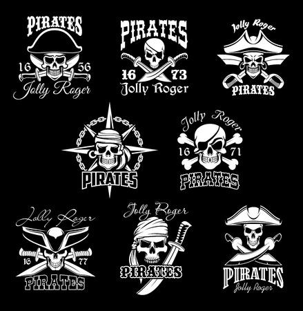 Crâne de pirate avec crossbone et ensemble de symboles Jolly Roger. Drapeau de piraterie de navire pirate avec crâne humain en capitaine de pirate chapeau, bandana et boucle d'oreille signe isolé, décoré avec épée, boussole vent rose
