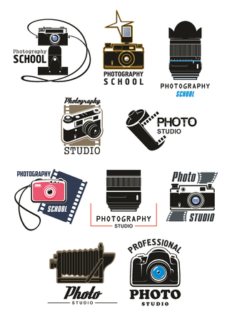 Photo studio and photography school symbol set. Retro photo camera, digital camera lens, camera flash and film roll isolated emblem for professional photography themes design Illustration