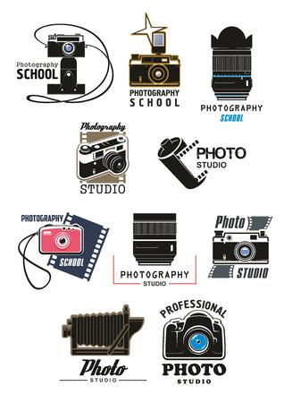 Photo studio and photography school symbol set. Retro photo camera, digital camera lens, camera flash and film roll isolated emblem for professional photography themes design Vettoriali