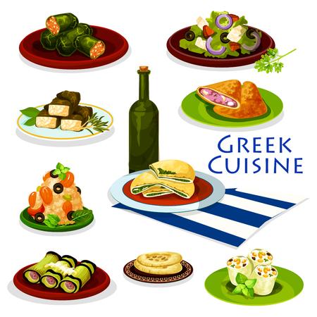 ギリシャ料理健康食品漫画アイコン。フェタ チーズ、オリーブ、肉とほうれん草のパイ、ピタパン、茄子肉巻きトマト野菜のサラダ、シーフードの