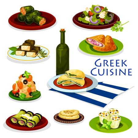 Greek cuisine healthy food cartoon icon. Tomato vegetable salad with feta cheese and olive, meat and spinach pie, pita bread, eggplant roll with meat, seafood rice, cabbage and grape leaf rolls dolma Illustration