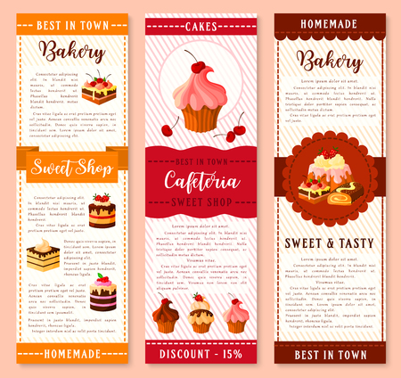 cheesecake: Cake, bakery and pastry dessert banner template. Cake and cupcake with cream, chocolate and fruit, muffin, berry pie, pudding, brownie, swiss roll cartoon symbol with ribbon for dessert menu design Illustration