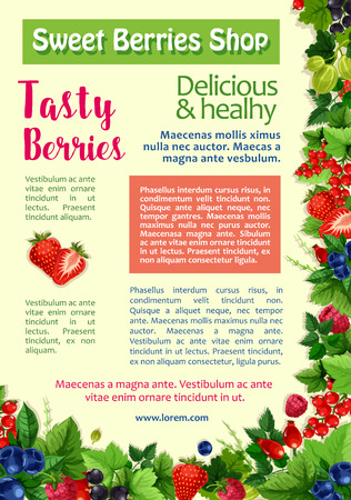 Fresh berry and fruit, healthy food poster template. Strawberry, blueberry, raspberry, black and red currant, gooseberry and wild briar branches with green leaf and text layout. Food and drink design