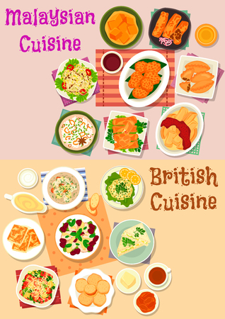 Malaysian and british cuisine icon set. Vegetable salad with meat and bean, seafood risotto, meat and shrimp spring roll, fish soup, curry pie, cucumber, cheese toast, chilli veggies, fruit dessert Illustration