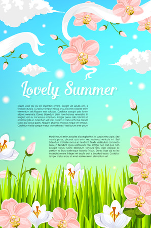 Summer time flowers poster design of blooming meadow with pink roses, orchid blossoms and filed of crocuses. Vector butterflies in summertime sky clouds and flourish ribbons on crocuses or magnolia