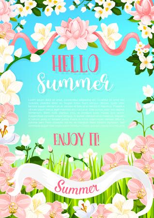Bonjour l'affiche d'été ou carte de voeux de s'épanouir fleurissent le bouquet floral de magnolia ou de pétales d'orchidée, de fleurs de roses de jardin et de fleurs d'été en fleur. Lily de vecteur et crocus pour les voeux d'été Banque d'images - 79001513