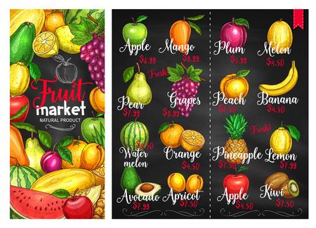 Fruit chalkboard poster template. Fruit market price list with orange, apple, banana, lemon, pineapple, mango, peach, watermelon, plum, grape, pear, avocado, melon, kiwi, apricot chalk sketches