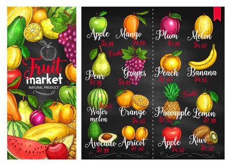 Fruit chalkboard poster template. Fruit market price list with orange, apple, banana, lemon, pineapple, mango, peach, watermelon, plum, grape, pear, avocado, melon, kiwi, apricot chalk sketches