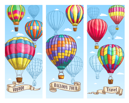Balloon tour travel banner set. Hot air balloon with basket flying in blue sky sketch with vintage ribbon banner and paper scroll below for air travel, holiday adventure, retro transportation design Ilustração