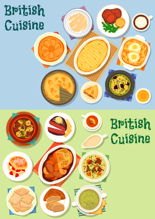 British cuisine meat dishes icon set with vegetable meat stew, potato lamb casserole, meat pie, roast beef, yorkshire pudding, lamb veggies soup, milk porridge, honey pie and scones with jam