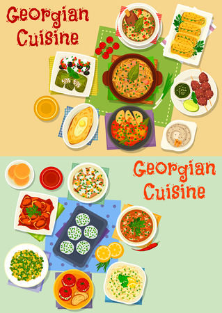 Georgian cuisine tasty lunch icon set. Grilled meat, walnut sauce, potato cheese pie with egg, vegetable salad with meat and nut, cheese ball, beef and chicken stew, cabbage roll dolma, meat rice soup Illustration