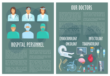 Medical personnel and doctor of oncology, traumatology, infectology and endocrinology hospital poster template with pill, heart, brain, blood, bone x-ray, spine and MRI. Healthcare staff themes design Illustration