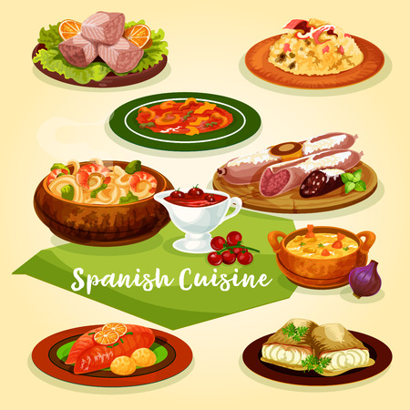 Spanish cuisine meat and fish dishes for dinner menu cartoon icon. Rice with gammon, sausage and ham, seafood noodle, fish and shrimp soup, tuna salad, cod with chilli sauce, trout baked with ham