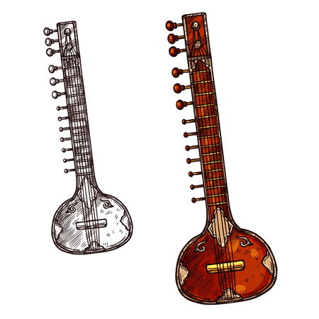Indian musical instrument sitar isolated sketch. Veena or sarod indian classical music stringed instrument with old ornamental wooden body for ethnic music and arts themes design Ilustração