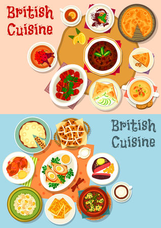 British cuisine popular dishes icon set. Sausage baked in bacon, vegetable meat stew, beef steak, egg, beer cheese soup, fish rice salad, fruit cake, meat pie, rice pudding, cucumber sandwich Illustration