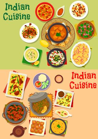 Indiase keuken gerechten gerechten menu icon set. Vleeskerrie, plantaardige kippenrijst, pilau, garnalamassala, vleessoep met chili, lamsvlees, aardappel- en spinaziehutspot, tomatenbolsalade, kaas, amandelkip