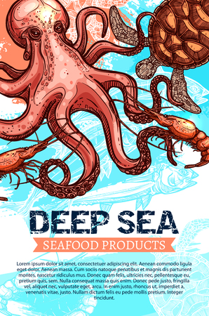 Seafood product and deep sea fishing banner. Ocean fish, shrimp, octopus and sea turtle sketches with ribbon banner and text layout below for fish market, seafood restaurant, fishing trip flyer design Ilustração
