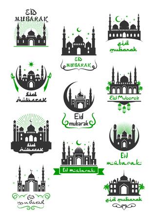Eid Mubarak moslim begroetingspictogram voor Ramadan Kareem-viering. Arabische religie feestelijke symbool van de islamitische moskee met maansikkel, ster, zwaard en vaandel met wensen van Ramadan Mubarak