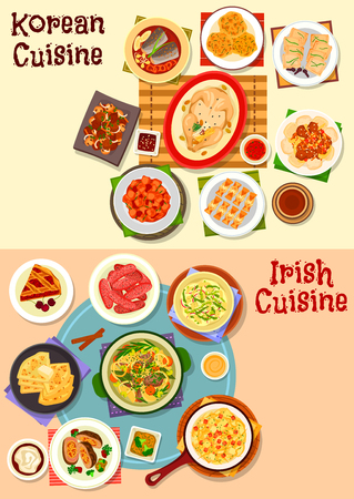 Korean and irish cuisine icon set. Grilled meat, pork sausage, kimchi cabbage, rice and potato pancake, meat vegetable stew, chicken soup, beef roll, fish in soy sauce, fried tofu, cherry pie Иллюстрация