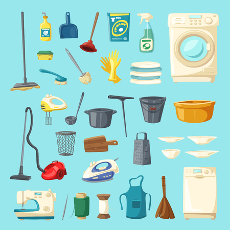 Household item and cleaning supplies cartoon icon set with mop, bucket, spray, sponge, brush, glove, broom, vacuum cleaner, pan, iron, apron, washing machine, dishwasher, tub, sewing machine, squeegee Illustration