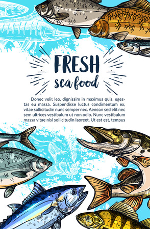 Seafood and freshwater fish banner. Salmon, tuna, marlin, pike, perch, carp, trout, cod and flounder fish sketches and silhouettes. Seafood poster for fish market, fishing and fishery industry design