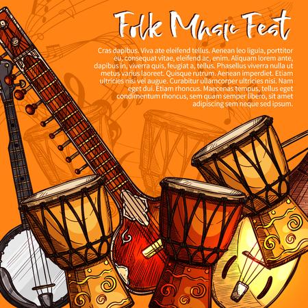 Muzikaal festival van volksmuziek poster. Etnische muziek instrument schetsen van sitar, tabla drums, luit en bandjo met notitie, treble sleutel en speld. Het muzikale ontwerp van de de uitnodigingsvliegersjabloon van het festival Stockfoto - 79001548