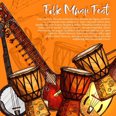 Musical festival of folk music poster. Ethnic music instrument sketches of sitar, tabla drums, lute and bandjo with note, treble clef and stave. Musical festival invitation flyer template design