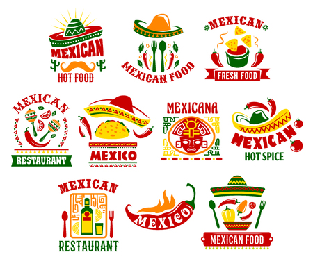 Mexican cuisine icon set with traditional spicy food. Mexican fast food restaurant chilli pepper and tomato sauce salsa with corn nachos, meat taco dishes with sombrero hat, maracas and cactus