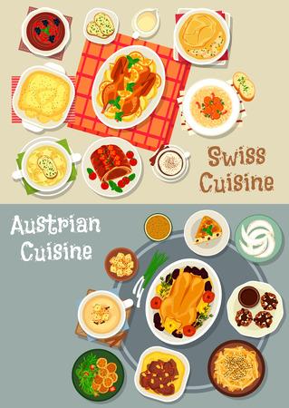 Oostenrijkse en Zwitserse gerechten gerechten icon set. Gebakken vlees met fruit en roomsaus, rundergroente stoofschotel, soep met kaas en bier, aardappelnoedels en knoedels, chocoladetaart en mousse, amandelkoekje