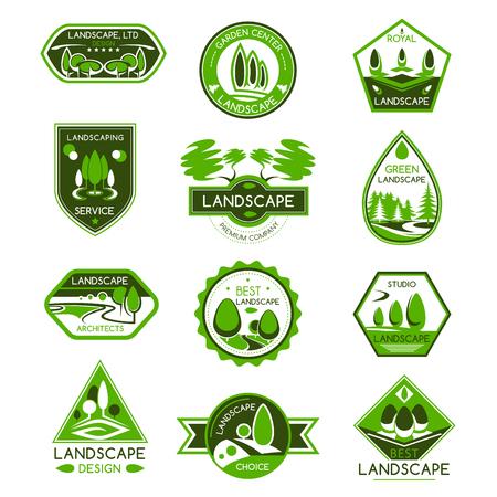 ランドス ケープ デザイン分離バッジを設定します。公園や庭園の風景の建築スタジオ、緑の木とサービス デザインを造園植物園芸センターのエン  イラスト・ベクター素材