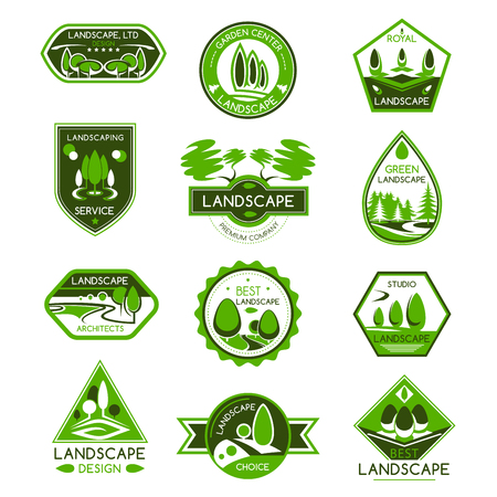 Landscape design isolated badge set. Park and garden landscape architecture studio and gardening center emblem with green tree and plant for landscaping service design