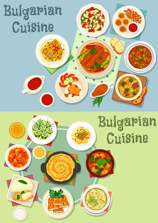 Bulgaarse keuken gezonde voeding pictogramserie. Gegrild vlees met peper, plantaardige varkensstoofpot, gevulde groenten met kaas, gehaktbalrijst en linzensoep uit rundvlees, koolbroodjes, aubergine en pompoenpastei
