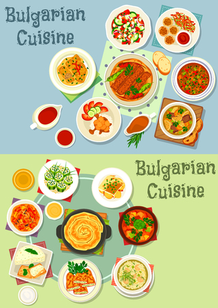 Bulgarian cuisine healthy food icon set. Grilled meat with pepper, vegetable pork stew, stuffed veggies with cheese, meatball rice and beef lentil soup, cabbage rolls, eggplant pate and pumpkin pie