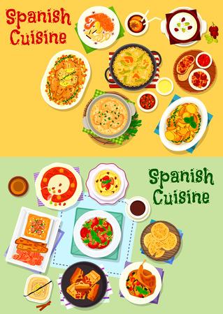 Spanische Küche nationale Gerichte Icon-Set von Tomaten-Pasta, gebackenes Fleisch, Schinken Tapas, Reis Paella, gebratenes Schweinefleisch, Gemüse-Salat und Eintopf, Brot und Nuss-Suppe, Chili-Kartoffel, Obst-Torte, Ei-Dessert Standard-Bild - 79001555