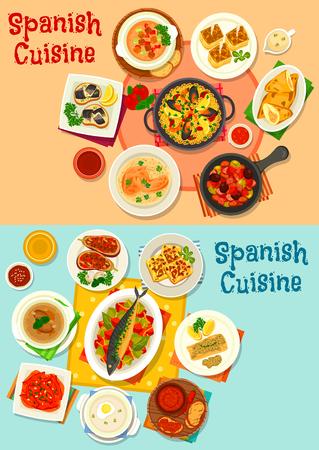 Icône de menu de cuisine espagnole avec paella de fruits de mer, tapas de poisson, poivre au four, soupe aux tomates et à l'ail, poisson au four et viande aux légumes, omelette et tortilla de pommes de terre, ragoût de saucisse d'olive et tarte à la viande