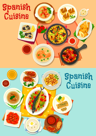 Spanish cuisine menu icon set with seafood paella, fish tapas, baked pepper, tomato and garlic soup, baked fish and meat with vegetables, potato omelette and tortilla, olive sausage stew and meat pie