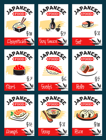 Japanese cuisine, asian food menu card. Sushi roll with rice, salmon and caviar, nigiri sushi with tuna and shrimp, seafood rice, noodle soup dishes for japanese seafood restaurant, sushi bar design Иллюстрация