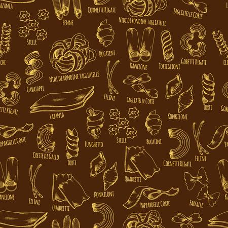 Pasta seamless pattern of italian macaroni. Pasta shapes sketch pattern of spaghetti, farfalle, penne, lasagna, kaneloni, filini and conchiglie. Italian cuisine menu background, food packaging design