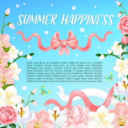 Affiche de bonheur d'été des fleurs d'été et des rubans roses dans le ciel bleu. Conception de vecteur de floraison des roses de jardin et champ de crocus ou magnolia et fleurs d'orchidées pour les voeux de vacances d'été Banque d'images - 79001562