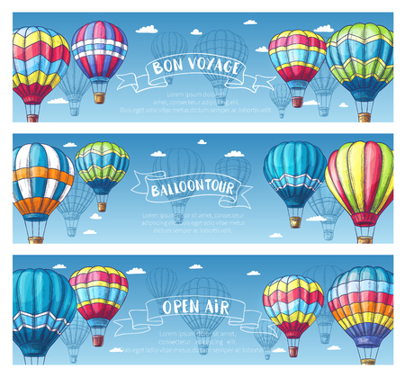 inflate: Hot air balloon sketch banner set. Air balloon floating across blue sky with white clouds vintage card, supplemented by ribbon banner with Balloon Tour, Bon Voyage text for travel, ballooning design