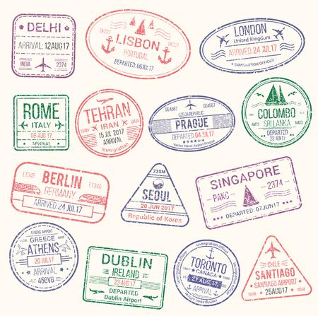 여권 스탬프 격리 된 설정합니다. 관광, 휴가 및 출장 디자인을위한 이탈리아, 영국, 독일, 인도, 그리스, 캐나다, 한국 및 포르투갈 국가 도착 및 출발의 여행 비자 스탬프 스톡 콘텐츠 - 79001563