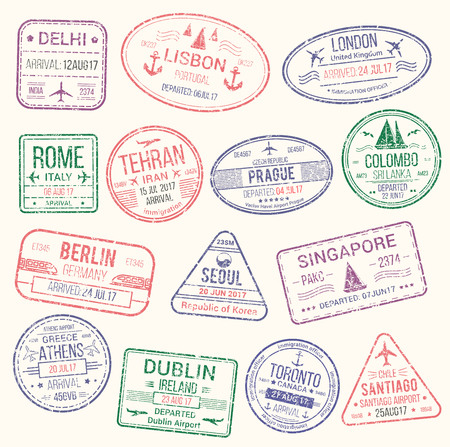 Passport stamp isolated set. Travel visa stamp of arrival to and departure from Italy, UK, Germany, India, Greece, Canada, Korea and Portugal countries for tourism, vacation and business trip design